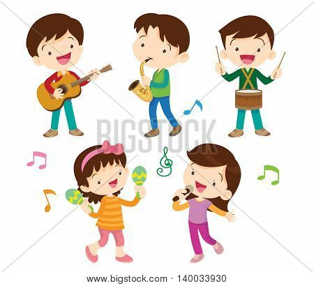illustrator vector of dancing kids and kids with musical instruments