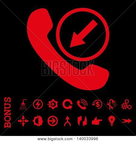 Incoming Call vector icon. Image style is a flat pictogram symbol, red color, black background.
