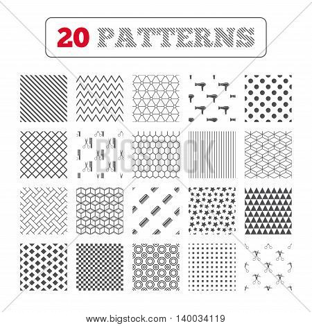 Ornament patterns, diagonal stripes and stars. Hairdresser icons. Scissors cut hair symbol. Comb hair with hairdryer sign. Geometric textures. Vector