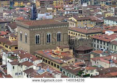 Panoramic view from the top of Duomo church in Florence, Italy, rainy day