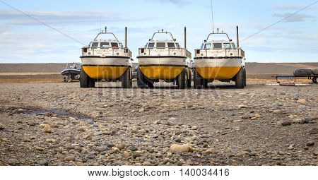 Jokulsarlon Lagoon, Iceland - September 13, 2013: Amphibian tour vehicles at Jokulsarlon lagoon in Southern Iceland