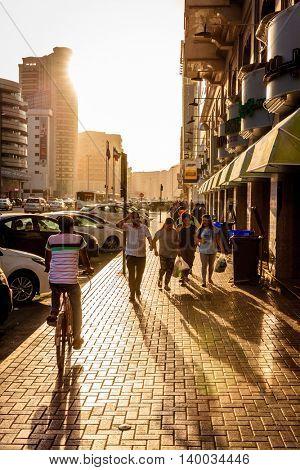 Dubai, June 14, 2016: Khalid Bin Al Waleed Street in Bur Dubai - center district of Dubai, UAE