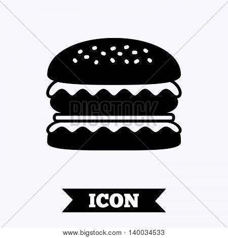 Hamburger icon. Burger food symbol. Cheeseburger sandwich sign. Graphic design element. Flat burger symbol on white background. Vector