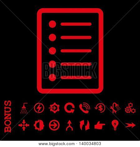 List Page vector icon. Image style is a flat iconic symbol, red color, black background.