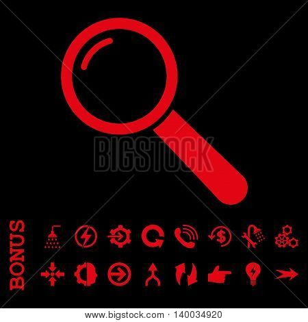 Magnifier vector icon. Image style is a flat iconic symbol, red color, black background.