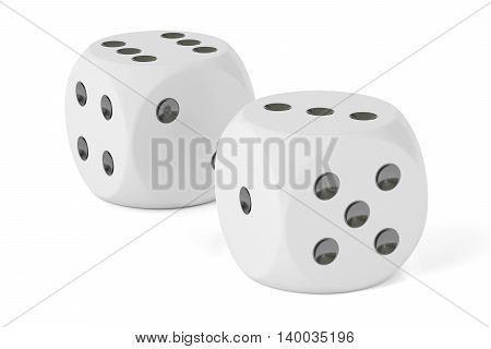 Dice 3D rendering isolated on white background