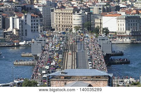 Galata Bridge and Karakoy district in Istanbul city Turkey