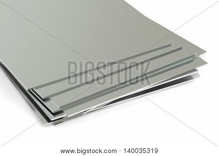 rolled metal sheets. 3D rendering isolated on white background