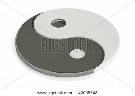 Yin Yang symbol 3D rendering isolated on white background