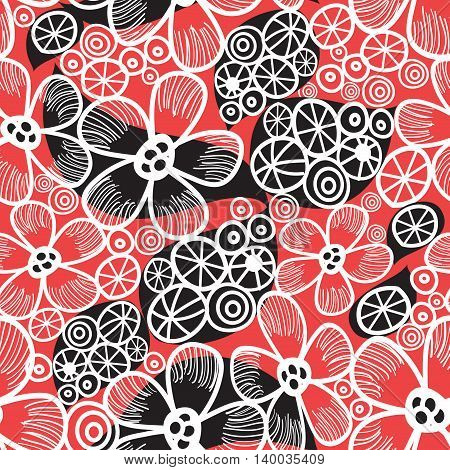 Seamless graphic pattern and abstraction flowers on a red background vector
