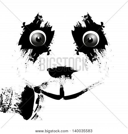 Ink panda smile Vector illustration of a panda ink watercolor stains or spots for design