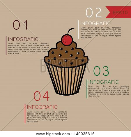 Muffin infographic design Vector illustration infographics muffin with inscriptions and figures in warm colors for design and statistics