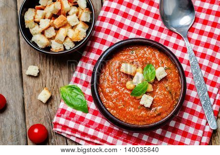 Roasted tomatoes and garlic Basil chickpea soup.