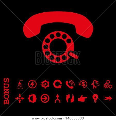 Pulse Dialing vector icon. Image style is a flat iconic symbol, red color, black background.