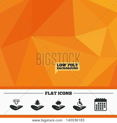 Triangular low poly orange background. Helping hands icons. Protection and insurance symbols. Financial money savings, save forest. Diamond brilliant sign. Disabled human. Calendar flat icon. Vector