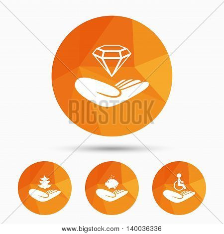Helping hands icons. Protection and insurance symbols. Financial money savings, save forest. Diamond brilliant sign. Disabled human. Triangular low poly buttons with shadow. Vector