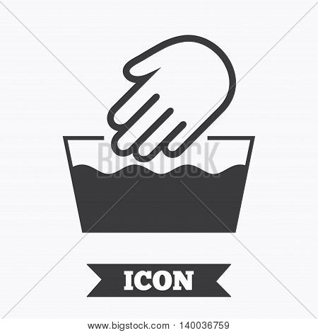 Hand wash sign icon. Not machine washable symbol. Graphic design element. Flat hand wash symbol on white background. Vector