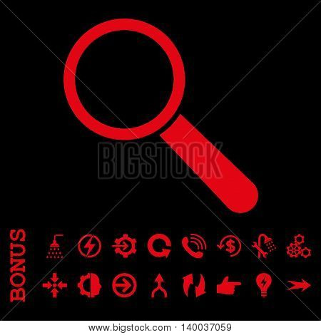 Search Tool vector icon. Image style is a flat iconic symbol, red color, black background.