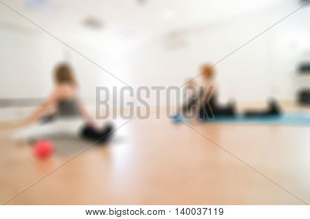 Fitness yoga class theme creative abstract blur background with bokeh effect