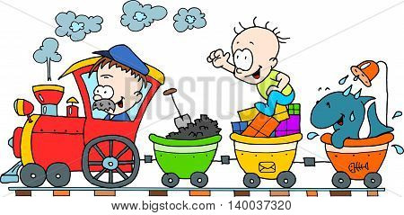 Happy train colour drawing isolated on white background with two people, carriage of coal and a fish taking shower.