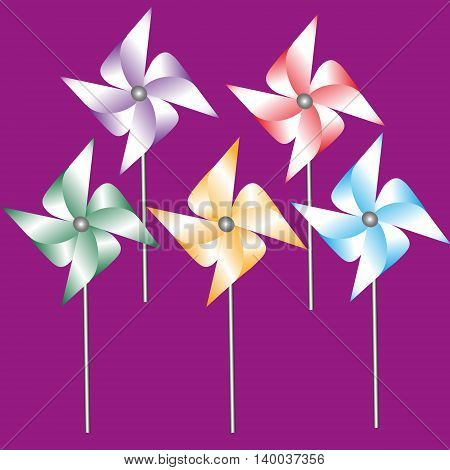 Set of five weathervane of colored paper vector illustration Drawing set of five weathervane made from colored paper on a stick on a dark pink