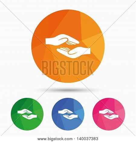 Helping hands sign icon. Charity or endowment symbol. Human palm. Triangular low poly button with flat icon. Vector