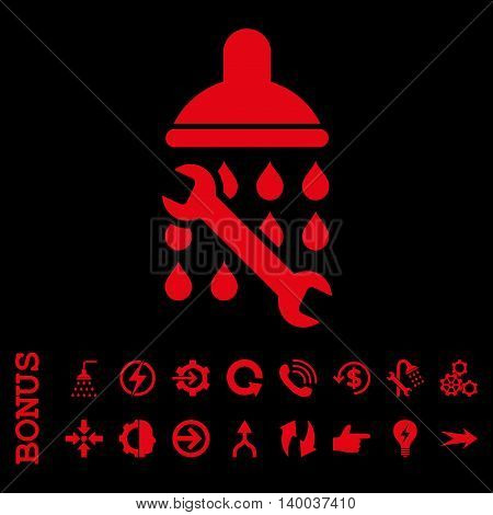 Shower Plumbing vector icon. Image style is a flat iconic symbol, red color, black background.