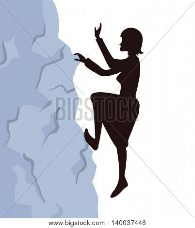 Woman climbs on the rock to the mountain top. Reaching the goal concept, vector illustration.