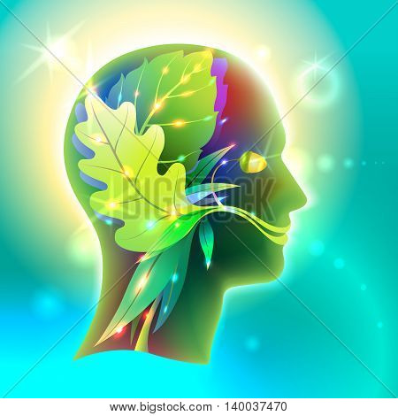 Vector Graphics Profile of the human head in the form of leaves of various trees. Creative symbol of the connection of man and nature its organic interactions and interdependencies in ecology and medicine.