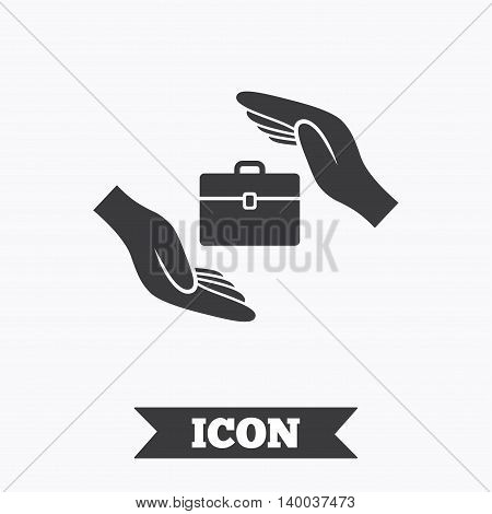Baggage insurance sign icon. Travel luggage symbol. Travel insurance. Graphic design element. Flat baggage symbol on white background. Vector