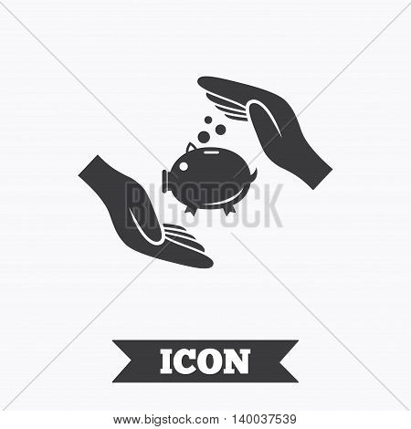Piggy bank money sign icon. Hands protect moneybox symbol. Money or savings insurance. Graphic design element. Flat insurance symbol on white background. Vector