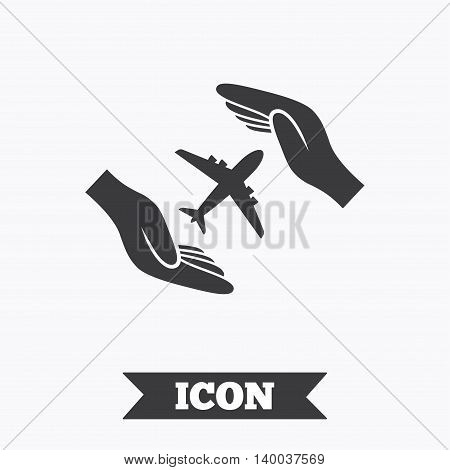 Flight insurance sign icon. Hands protect cover plane symbol. Travel insurance. Graphic design element. Flat flight symbol on white background. Vector