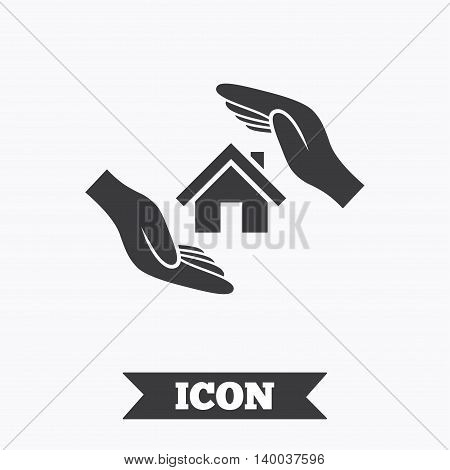 House insurance sign icon. Hands protect cover symbol. Insurance of property. Graphic design element. Flat insurance symbol on white background. Vector