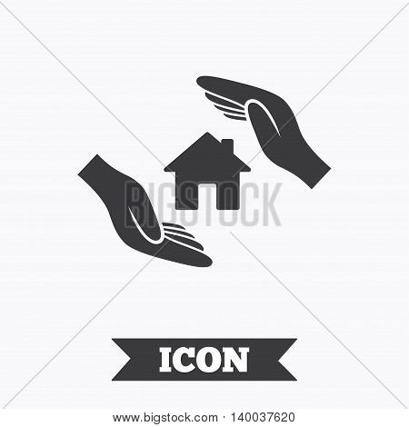House insurance sign icon. Hands protect cover symbol. Insurance of property. Graphic design element. Flat real-estate symbol on white background. Vector