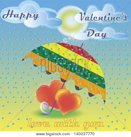 illustration of two hearts under umbrella Image of two hearts under umbrella striped the rain and the sun is shining and the expression of love with you
