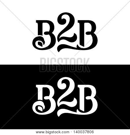 B2B logo vector design concept isolated on black and white backgrounds. Modern corporate identity for business marketing company