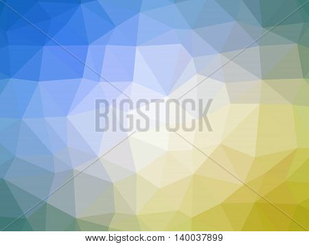 Abstract yellow blue green gradient low polygon shaped background.