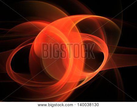 Abstract orange bright swirling fractal on black background