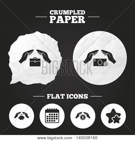 Crumpled paper speech bubble. Hands insurance icons. Piggy bank moneybox symbol. Money savings insurance signs. Travel luggage and cash coin symbols. Paper button. Vector