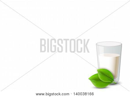 Milk in glass, green leave nearby. Illustration on white background. Organic product