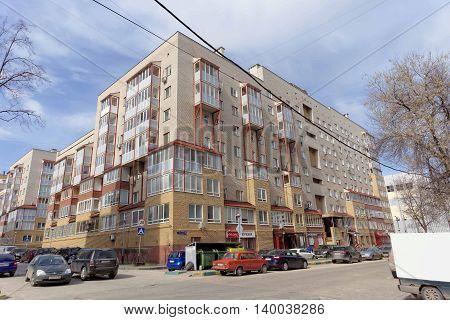 Nizhny Novgorod Russia. - April 26.2016. Residential brick multi-storey building the street Izhora 11