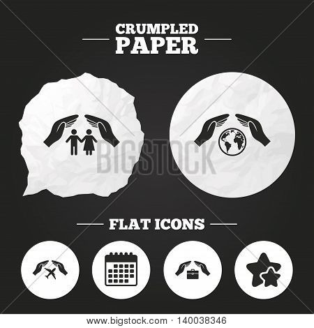 Crumpled paper speech bubble. Hands insurance icons. Human life insurance symbols. Travel flight baggage symbol. World globe sign. Paper button. Vector