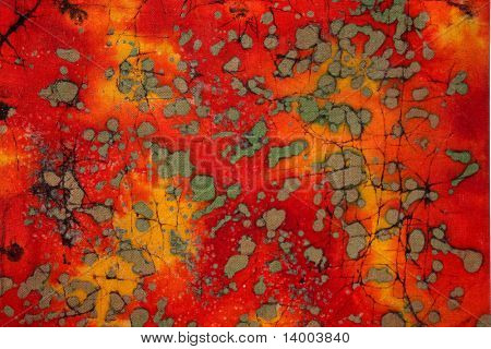 Red colored abstract image with grey and brown spots