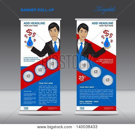 Blue and red Roll up banner template and Business Man Mobile infographics stand display advertisement vector