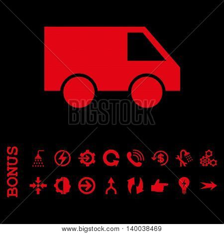 Van vector icon. Image style is a flat iconic symbol, red color, black background.