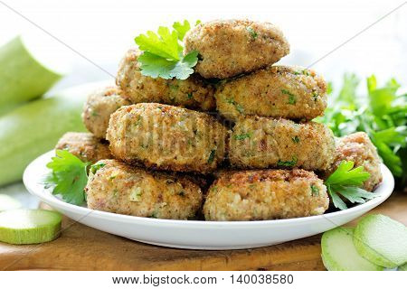 Fried meat cutlets in bread crumbs selective focus