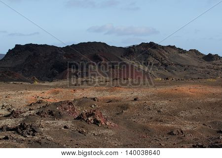 Desert arid stone volcanic landscape in Lanzarote, Canary Islands