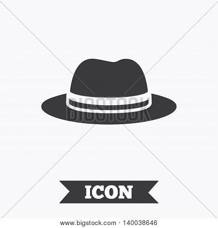 Top hat sign icon. Classic headdress symbol. Graphic design element. Flat hat symbol on white background. Vector