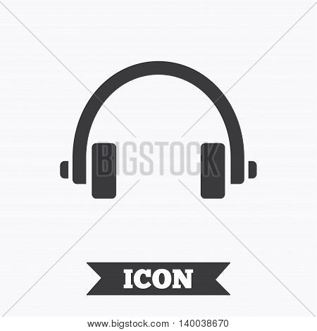 Headphones sign icon. Earphones button. Graphic design element. Flat headphones symbol on white background. Vector