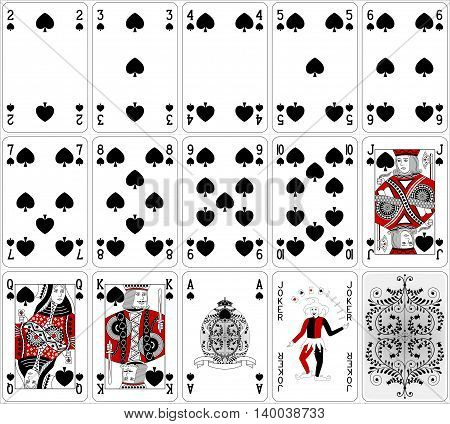 Poker Cards Spade Set Two Color Classic Design